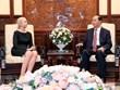 Le président Tran Dai Quang reçoit l'ambassadrice de Norvège