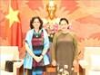 La présidente de l'AN reçoit l'ambassadrice de Cuba au Vietnam