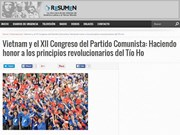 Le journal argentin Resumen Latinoamericano salue le Parti communiste du Vietnam
