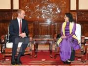La vice-présidente du Vietnam reçoit le Prince britannique William