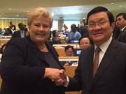Truong Tan Sang rencontre la Premère ministre norvégienne