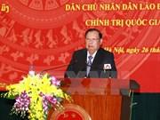Bounnhang Vorachit se rend à l'Académie nationale de politique Ho Chi Minh