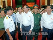 Tran Dai Quang rencontre des électeurs militaires à Ho Chi Minh-Ville