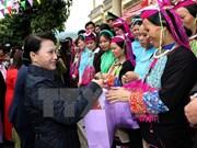 La présidente de l'AN visite des localités frontalières de Quang Ninh
