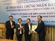 Hô Chi Minh-Ville: remise de la licence d'investissement à deux projets étrangers