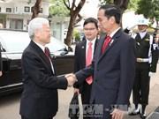 Cérémonie d'accueil officielle en l'honneur du secrétaire général Nguyen Phu Trong