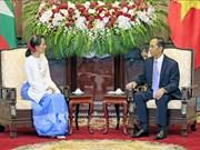 Le président Tran Dai Quang reçoit la conseillère d'Etat du Myanmar