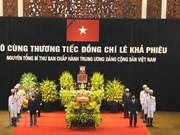 Début de la cérémonie en hommage de l'ancien secrétaire général du PCV Lê Kha Phiêu