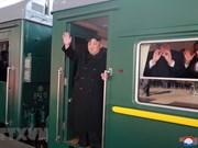 Le président de la RPDC prend le train pour venir à Hanoï