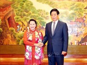 Entretien entre le président de l'APN Li Zhanshu et la présidente de l'AN Nguyên Thi Kim Ngân