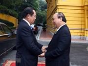 Cérémonie d'accueil du Premier ministre cambodgien Techo Hun Sen