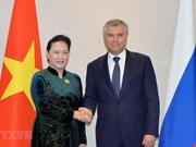 Entrevue entre la présidente de l'AN du Vietnam et le président de la Douma d'Etat de Russie