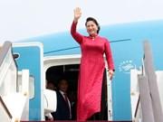 La présidente de l'AN Nguyên Thi Kim Ngân arrive à Pékin