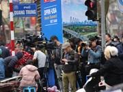 Des centaines de journalistes attendent le président nord-coréen Kim Jong-un