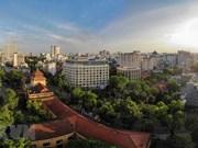 Le bâtiment de l'Agence vietnamienne d'information vu d'en haut