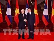 Le dirigeant vietnamien Nguyen Phu Trong rencontre des dirigeants laotiens