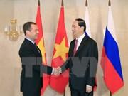 Le président Tran Dai Quang a eu une entrevue avec le PM russe Dmitri Medvedev