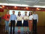 Remise du Prix d'écriture à Hô Chi Minh-Ville