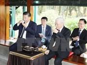 Le secrétaire général du PCV et le dirigeant chinois Xi Jinping assistent à un thé