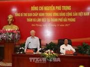 Le secrétaire général Nguyên Phu Trong travaille à Hai Phong