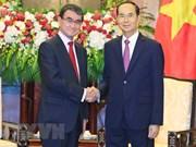 Le président Tran Dai Quang reçoit le ministre japonais des Affaires étrangères
