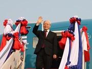 Le dirigeant Nguyen Phu Trong entame sa visite officielle d'amitié au Laos