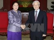 Nguyen Phu Trong reçoit des responsables parlementaires laotiens et indiens
