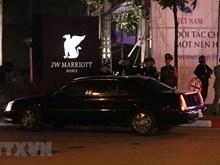 Le convoi a amené le président américain Donald Trump à l'hôtel JW Marriott