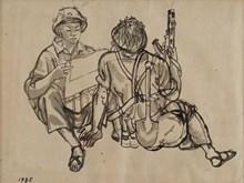 Des œuvres typiques de l'exposition « Mémoires sur la piste Truong Son »