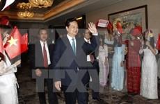 Le PM Nguyen Tan Dung arrive à Singapour