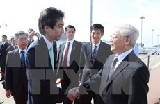 Le secrétaire général du PCV Nguyen Phu Trong arrive à Tokyo