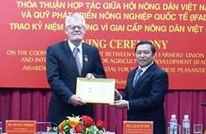 Coopération entre l'IFAD et l'Association des paysans du Vietnam