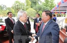 Le leader du PCV Nguyen Phu Trong en visite au Laos