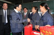 Le président Truong Tan Sang se rend à Hung Yen et Ha Nam pour formuler ses vœux du Tet