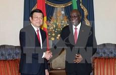 Le président Truong Tan Sang s'entretient avec son homologue tanzanien John Magufuli