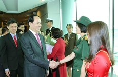 Le président Tran Dai Quang entame sa visite d'Etat à Singapour