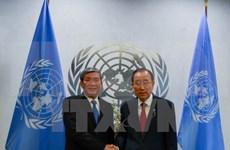 Le permanencier du secrétariat du Parti Dinh Thê Huynh rencontre le secrétaire général Ban Ki-moon