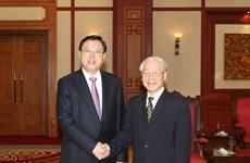 Le secrétaire général Nguyen Phu Trong reçoit le président de l'APN chinoise