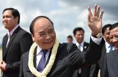 Le PM Nguyen Xuan Phuc est arrivé au Cambodge pour participer au 9e Sommet CLV