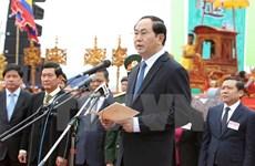 Le président Tran Dai Quang participe à la Fête du Labour à Ha Nam