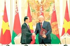Le président Trân Dai Quang quitte la Biélorussie pour la Russie