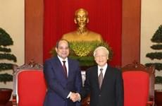 Le secrétaire général Nguyen Phu Trong reçoit le président égyptien