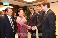 La présidente de l'AN rencontre des investisseurs singapouriens au Vietnam