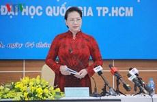 La présidente de l'AN visite l'Université nationale de Hô Chi Minh-Ville