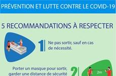 COVID-19: cinq recommandations du ministère de la Santé