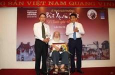Prix Bùi Xuân Phai: Nguyên Thua Hy reçoit le Grand Prix
