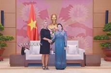 La présidente de l'Assemblée nationale reçoit la vice-présidente de la Commission européenne