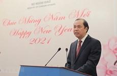 Rencontre de correspondants étrangers et de représentants diplomatiques à l'occasion du Nouvel an
