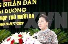 La présidente de l'AN salue les efforts de développement de la province de Hai Duong