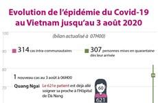Evolution de l'épidémie du Covid-19 au Vietnam jusqu'au 3 août 2020